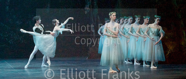 Giselle <br /> English National Ballet at The London Coliseum, London, Great Britain <br /> rehearsal <br /> 10th January 2017 <br /> <br /> Alina Cojocaru as Giselle <br /> <br /> Isaac Hernandez as Albrecht <br /> <br /> Laureata Summerscales as Myrtha Queen of the Wilis <br /> <br /> <br /> Photograph by Elliott Franks <br /> Image licensed to Elliott Franks Photography Services