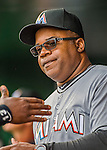 7 April 2016: Miami Marlins third base coach Lenny Harris stands ready in the dugout prior to the Washington Nationals Home Opening Game at Nationals Park in Washington, DC. The Marlins defeated the Nationals 6-4 in their first meeting of the 2016 MLB season. Mandatory Credit: Ed Wolfstein Photo *** RAW (NEF) Image File Available ***