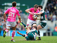 Willem Alberts of Stade Francais is double-tackled. European Rugby Champions Cup quarter final, between Leicester Tigers and Stade Francais on April 10, 2016 at Welford Road in Leicester, England. Photo by: Patrick Khachfe / JMP