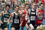 Finishing the first lap  (L to R:   Ben Stout, Austin Rogers, Duke Madson, Dillon Hughes, Ethan Engberg, and Matthew Burgstahler) during the 4A Idaho Track and Field Championships 800 meter run on May 19, 2012 at Middleton High School, Middleton, Idaho.