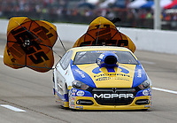 Apr 26, 2014; Baytown, TX, USA; NHRA pro stock driver Allen Johnson during qualifying for the Spring Nationals at Royal Purple Raceway. Mandatory Credit: Mark J. Rebilas-USA TODAY Sports