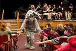 01/10/2012- Somerville, Mass. - Jumbo makes an appearance during a performance for schoolchildren by the Tufts University Wind Ensemble at Cohen Auditorium on Jan. 10, 2012.  (Kelvin Ma/Tufts University)