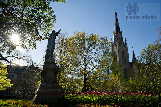 "April 11, 2012;  Sacred Heart Jesus statue and tulips in Main ""God"" Quad. Photo by Barbara Johnston/University of Notre Dame"