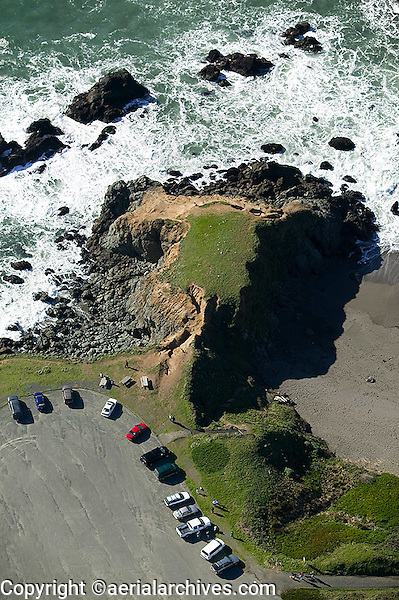 aerial view above Sonoma County California Pacific coastline south of Jenner north of Bodega Bay