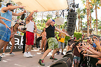 LAS VEGAS, NV - APRIL 29: Rob Gronkowski  and Mojo Rawley on stage with Flo Rida and Flavor at Rehab at The Hard Rock Hotel & Casino in Las Vegas, Nevada on April 29, 2017. Credit: GDP Photos/MediaPunch