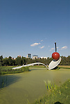 Minnesota, Twin Cities, Minneapolis-Saint Paul: Sculpture Spoonbridge and Cherry by Claes Oldenburg at the Minnesota Sculpture Garden next to the Walker Art Center..Photo mnqual209-74968..Photo copyright Lee Foster, www.fostertravel.com, 510-549-2202, lee@fostertravel.com.