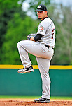 25 July 2010: Tri-City ValleyCats pitcher Carlos Quevedo on the mound during a game against the Vermont Lake Monsters at Centennial Field in Burlington, Vermont. The ValleyCats came from behind to defeat the Lake Monsters 10-8 in NY Penn League action. Mandatory Credit: Ed Wolfstein Photo