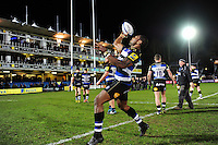 Semesa Rokoduguni of Bath Rugby throws a signed ball into the crowd after the match. Aviva Premiership match, between Bath Rugby and Saracens on April 1, 2016 at the Recreation Ground in Bath, England. Photo by: Patrick Khachfe / Onside Images
