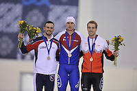 SPEED SKATING: SALT LAKE CITY: 20-11-2015, Utah Olympic Oval, ISU World Cup, Podium 500m Men, Mitchell Whitmore (USA), Pavel Kulizhnikov (RUS) in World Record: 33.98, William Dutton (CAN), ©foto Martin de Jong