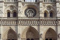 Western façade, Notre Dame de Paris, 1163 ? 1334, initiated by the bishop Maurice de Sully, Ile de la Cité, Paris, France. Picture by Manuel Cohen