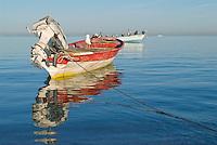 Small motorboat floating in Sea of Cortez, La Paz, Mexico