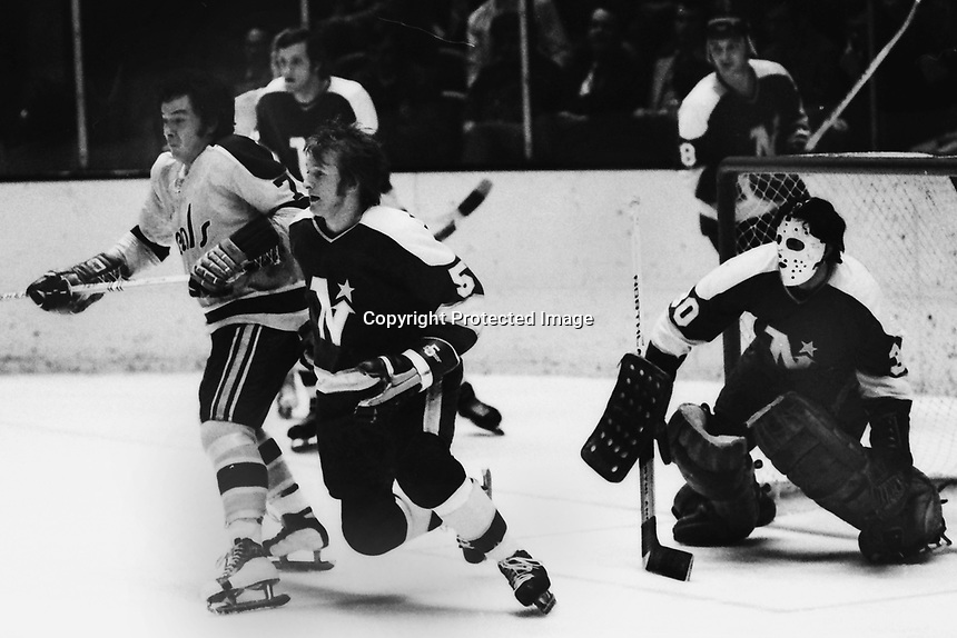 Seals vs North stars 1972. Seals Reggie Leach and North Stars Dennie O'Brien and goalie Cesare Maniago.<br />