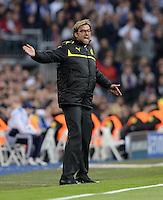 FUSSBALL  CHAMPIONS LEAGUE  HALBFINALE  RUECKSPIEL  2012/2013      Real Madrid - Borussia Dortmund                   30.04.2013 Emotional an der Seitenlinie: Trainer Juergen Klopp (Borussia Dortmund)