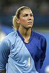 15 August 2008: Hope Solo (USA).  The women's Olympic team of the United States defeated the women's Olympic soccer team of Canada 2-1 after extra time at Shanghai Stadium in Shanghai, China in a Quarterfinal match in the Women's Olympic Football competition.