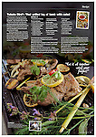 Tearsheet from Good Food magzine - Full-page photograph of Thai grilled leg of lamb cooked by Thai Chef Tukata Bird in her garden kitchen in Ryhall, Rutland, near Stamford, Lincolnshire