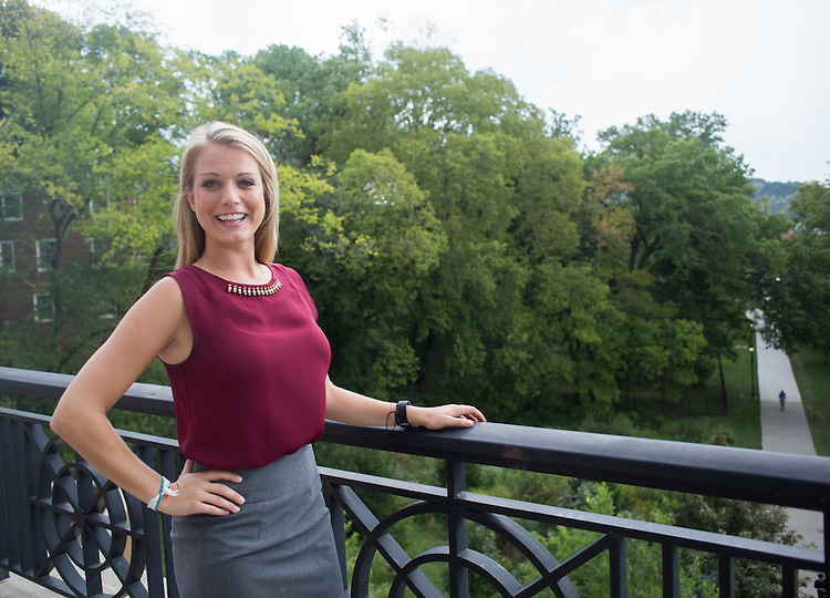 Krista Kuhlman poses for a portrait on the balcony outside of Baker Center on Wednesday, September 9, 2015. Photo by Emily Matthews