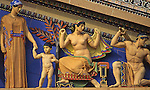 "Museum of Art, ""Western Civilization,"" artist C. Paul Jennewein, Polychrome Sculptures, Painted terra-cotta figures, Greek Deities  Mythological Figures, Philadelphia, PA USA"