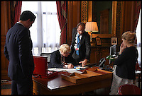 Image ©Licensed to i-Images Picture Agency. 14/07/2016. London, United Kingdom. Boris Johnson- Foreign Secretary. Foreign Secretary Boris Johnson working at his new desk in his office in the Foreign Office, after being appointed Foreign Secretary in the Cabinet reshuffle. Picture by Andrew Parsons / i-Images