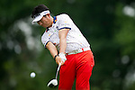 Y.E. YANG hits his thee shot on the 4th hole at Congressional Country Club during the final round of the U.S. Open in Bethesda, MD.