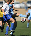 North Carolina's Yael Averbuch (behind) plays the ball under pressure from Duke's Rebekah Fergusson (l) on Saturday, March 3rd, 2007 on Field 1 at SAS Soccer Park in Cary, North Carolina. The Duke University Blue Devils played the University of North Carolina Tarheels in an NCAA Division I Women's Soccer spring game.