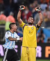 FUSSBALL WM 2014                HALBFINALE Niederlande - Argentinien       09.07.2014 Torwart Sergio Romero (Argentinien) jubelt nach dem Einzug in das Finale