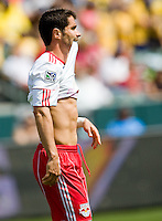 NY RedBulls forward Juan Pablo Angel reacts to narrowly missing a goal. Chivas USA defeated the Red Bulls of New York 2-0 at Home Depot Center stadium in Carson, California April 10, 2010.  .