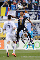 Lionard Pajoy (23) of the Philadelphia Union goes up for a header. The Philadelphia Union and the Vancouver Whitecaps played to a 0-0 tie during a Major League Soccer (MLS) match at PPL Park in Chester, PA, on March 31, 2012.