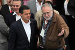 Mexican poet and activist Javier Sicilia welcomes Institutional Revolutionay Party (PRI) candidate Enrique Pena Nieto during the dialogue with members of the National Movement for Peace with Justice and Dignity (MPJD) in the Alcazar del Castillo de Chapultepec venue in Mexico City, May 28. 2012. Sicilia and the mothers of disappeared people demanded peace to Mexico and the punishment of the authorities linked to the organized crime in Mexico. Photo by Heriberto Rodriguez