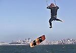 Kite board racing championship off Crissy Field near St. Francis Yacht Club in San Francisco, California.