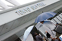 May 22, 2011, Tokyo, Japan - Visitors queue in line to have their chance to go up to the Tokyo Skytree Observation Deck. Tokyo Skytree, the world's tallest self-standing telecommunications tower with a height of 634 meters, opens today. This new Japanese landmark is expected to attract approximately 200,000 visitors on this first official opening day to the general public. (Photo by Yumeto Yamazaki/Nippon News)