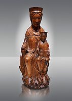 Gothic wood statue of the Virgin Mary and Child. Polychrome wood carving with varnished metal-plating. Date - First quarter of the 13th century. National Museum of Catalan Art, Barcelona, Spain inv no: 3924