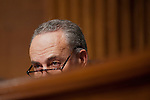 Senator CHUCK SCHUMER (D-NY) listens as Attorney General Eric Holder testifies before the Senate Judiciary Committee on Capitol Hill on Tuesday. Holder admitted mistakes in the gun-trafficking investigat ion known as Fast and Furious. Holder is under pressure from Republican lawmakers over tactics used by Bureau of Alcohol, Tobacco, Firearms and Explosives agents in Phoenix that allowed suspected traffickers to buy about 2,000 firearms in the U.S. to smuggle to Mexico.