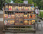 Icon reproductions for sale in a street market in Sofia, Bulgaria.