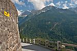 Stone road in Soglio, Switzerland a town the Bregaglia Valley; Graubunden Canton