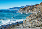 A bird's eye view of a section of the coast of Big Sur from the side of Highway 1