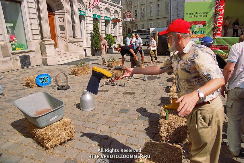 Man play rustic games at Vienna country fair