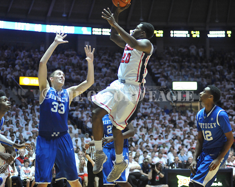 "Ole Miss' Nick Williams (20) shoots over Kentucky's Kyle Wiltjer (33) at the C.M. ""Tad"" Smith Coliseum on Tuesday, January 29, 2013. Kentucky won 87-74. (AP Photo/Oxford Eagle, Bruce Newman).."