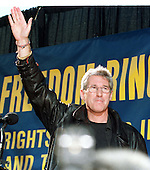 Washington, DC - October 29, 1997 -- Actor Richard Gere arrives at a rally to protest religious persecution in China in Lafayette Park across from The White House in Washington, D.C. on October 29, 1997.  The protest coincided with the visit of President Jiang Zemin of China to the White House..Credit: Ron Sachs / CNP