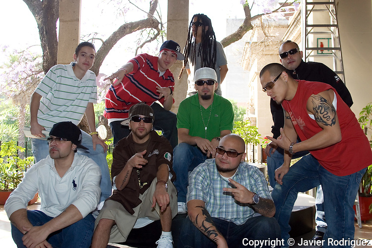 The Kumbia Kings music band poses for a photograph during a press conference in Mexico City, April 7, 2006. The Kumbia Kings are starting a tour in different cities of Mexico aponsored by Coca-Cola. A.B Quintanilla, the leader of the band, is not accompanying the group in this tour... Photo by © Javier Rodriguez