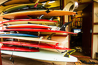 HONOLULU, North Shore, Oahu. - (Friday, January 4, 2013) Rarick's surfboard rack.--Surfer, Shaper, Adventurer,Triple Crown of Surfing Director, Randy Rarick (HAW)  photographed in his shaping bay and office at Sunset Beach on the North Shore. Photo: joliphotos.com