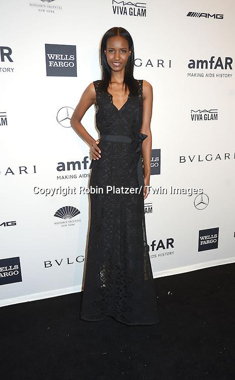 Fatima Siad attends the amfAR New York Gala on February 5, 2014 at Cipriani Wall Street in New York City.