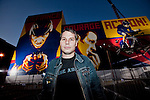 Shepard Fairey..Lance Armstrong along with Nike Sportswear and the LAF, Lance Armstrong Foundation, launched the Stages art project in Hollywood. Lance Armstrong and over 700 hundred cyclist rode down the Sunset blvd to the Montalban Theatre. The Stages Art event will fund a global fight against cancer and celebrate Lance's return to the bike racing. The art pieces will follow the Tour de France..Artist Shepard Fairey created a 3 piece mural of Lance Armstrong, which was showcased on the side of the Montablan Theatre.