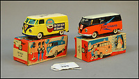 BNPS.co.uk (01202 558833)<br /> Pic: Astons/BNPS<br /> <br /> Two Tekno #405 Volkswagen Buko.<br /> <br /> A retired historian's remarkable collection of 700 toy cars has sold for almost &pound;100,000.<br /> <br /> Anders Clausager, 67, amassed so many toy cars over the past 60 years he got his own auction to off-load them.<br /> <br /> A collector from Sheffield paid &pound;2,100 for a pack of 12 Lego miniatures set, while a prestigious French Dinky Toys set went for &pound;1,450 and a Corgi Toys set went for &pound;850 at the auction in Dudley.