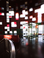 """Agbar Tower : Interior public hall; Jean Nouvel (Fumel, Lot-et-Garonne, France 1945) and B720 architectural studio headed by Fermín Vázquez; June 1999 - Sept 2004; 142 meters height; 50,500 square meters built; 59,619 Glass Sheets; 4,349 Openings; 4500 Windows; 40 different colours; work included to the exhibition """"On-site, new architecture in Spain"""" at the Museum of Modern Art (New York, Feb - May 2006), Barcelona, Catalonia, Spain Picture by Manuel Cohen"""