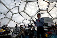 The press room inside of the Water Cube at Olympic Park - 2011 Tour of Beijing, Stage 1 ITT