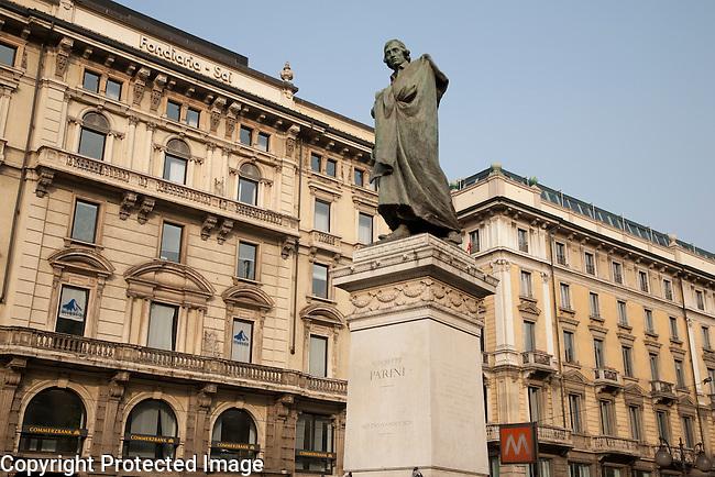 Parini Statue in Dante Street with Cordusio Square in Milan; Italy