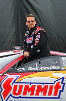 Nov. 12, 2011; Pomona, CA, USA; NHRA pro stock driver Greg Anderson during qualifying at the Auto Club Finals at Auto Club Raceway at Pomona. Mandatory Credit: Mark J. Rebilas-.
