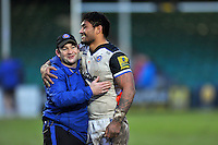 Bath Rugby first team coach Darren Edwards looks on with Amanaki Mafi after the match. Aviva Premiership match, between Worcester Warriors and Bath Rugby on February 13, 2016 at Sixways Stadium in Worcester, England. Photo by: Patrick Khachfe / Onside Images