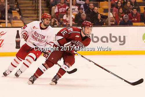Chad Krys (BU - 5), Ryan Donato (Harvard - 16) - The Harvard University Crimson defeated the Boston University Terriers 6-3 (EN) to win the 2017 Beanpot on Monday, February 13, 2017, at TD Garden in Boston, Massachusetts.