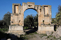 General view of the Arch of Alexander Severus, 3rd century, in Dougga, Tunisia, pictured on January 31, 2008, in the morning. Dougga has been occupied since the 2nd Millennium BC, well before the Phoenicians arrived in Tunisia. It was ruled by Carthage from the 4th century BC, then by Numidians, who called it Thugga and finally taken over by the Romans in the 2nd century. Situated in the north of Tunisia, the site became a UNESCO World Heritage Site in 1997. Picture by Manuel Cohen.